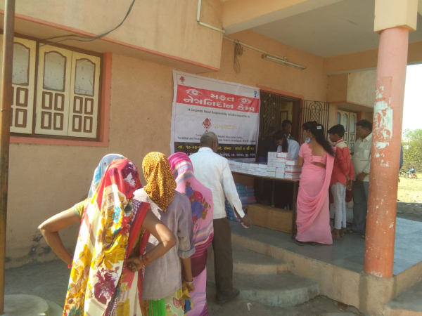 Free Eye Check up Camp in Jageshwar Village supported by Dahej SEZ ltd. under CSR