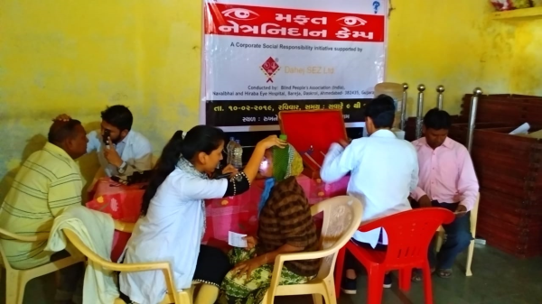 Free Eye Check up Camp in Lakhigam Village supported by Dahej SEZ ltd. under CSR